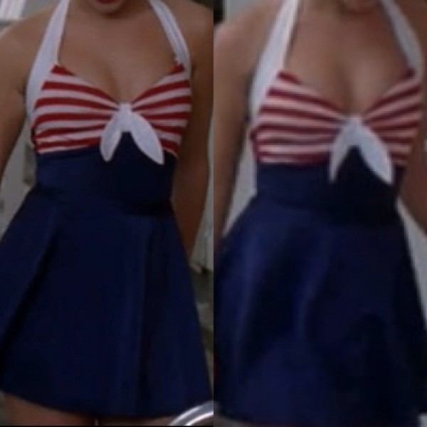 swimwear skirt bow swimwear red white and blue stripes one piece swimsuit swim skirt halter top sailor style