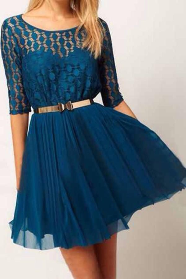 dress blue dress polka dots