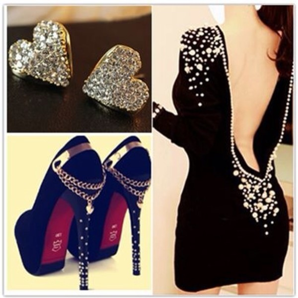 dress glitter little black dress