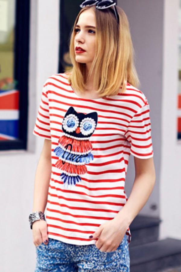 t-shirt kcloth owl stripes stripes blue owl printed striped t-shirt striped t-shirt red t-shirt blue skirt blue shirt