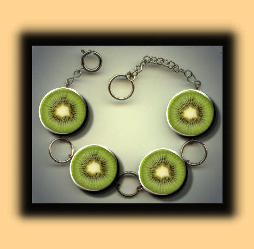 KIWI green Australian fruit slices Charm Bracelet with door Yesware