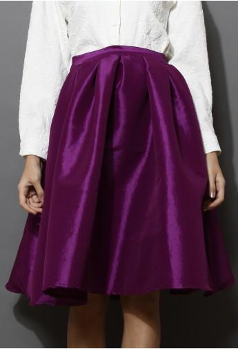 Purple A-line Midi Skirt - Retro, Indie and Unique Fashion