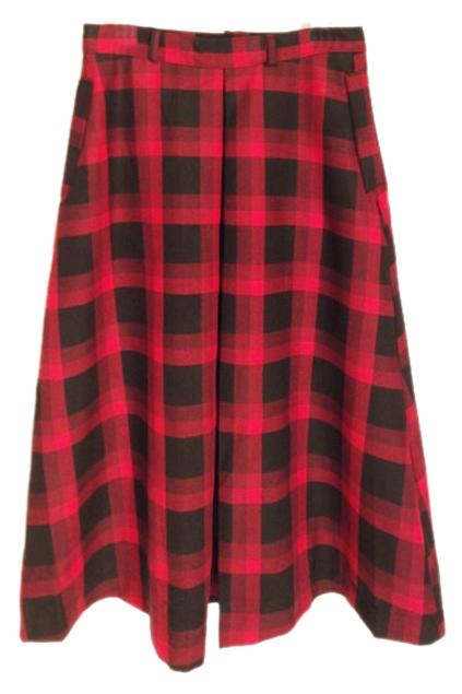 ROMWE   ROMWE Belted Checkered Red Umbrella Skirt, The Latest Street Fashion