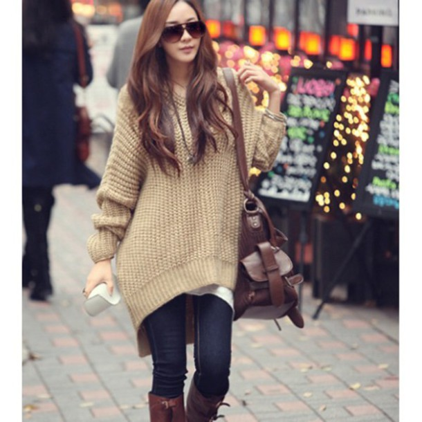 Sweater khaki hoodie oversized sweater top knitted cardigan winter sweater fall outfits ...