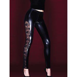 Coquette Darque Wet Look Leggings with Stretch Lace Side | eBay