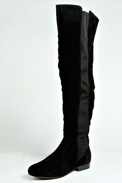 Lydia Suedette Elastic Insert Knee High Boot at boohoo.com
