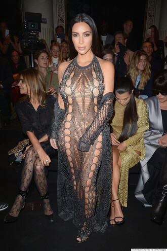 dress knitwear mesh kim kardashian silver grey knitted dress see through see through dress mermaidy