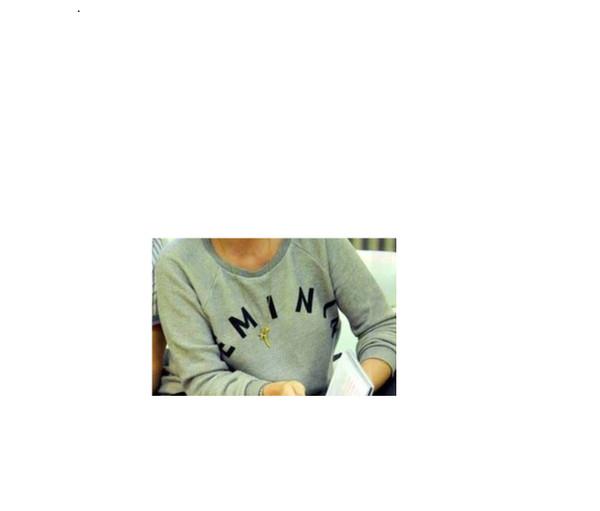 sweater clothes celebrity jumper logo lettering grey crewneck keeley hawes whistles