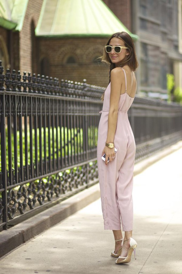 something navy jumpsuit shoes sunglasses jewels