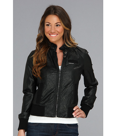 Members Only Quilted PU Racer Jacket w/ Snake Panels Black - Zappos.com Free Shipping BOTH Ways
