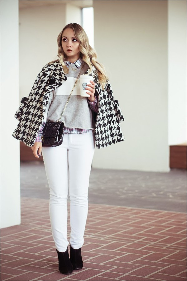my blonde gal blouse bag jewels shoes sweater