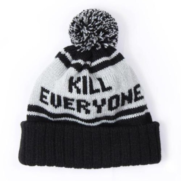 hat beanie kill kill everyone winter outfits black hat hate haters i hate everyone tumblr bw black white pompon black and white