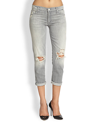 MOTHER - The Dropout Distresed Cropped Skinny Jeans - Saks.com