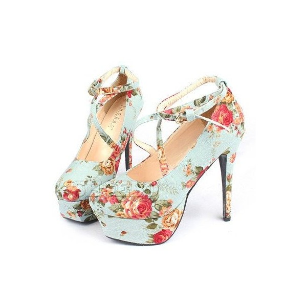 Free shipping 2011 new lady's strappy heels fashion floral p... - Polyvore