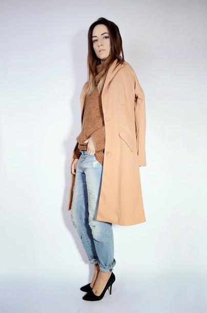 quality rivets blogger camel coat boyfriend jeans