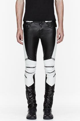 Saint Laurent Black & White Ribbed Zipped Biker Pants for men | SSENSE