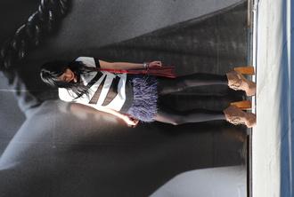 jeffrey campbell plume blue skirt red bag skirt