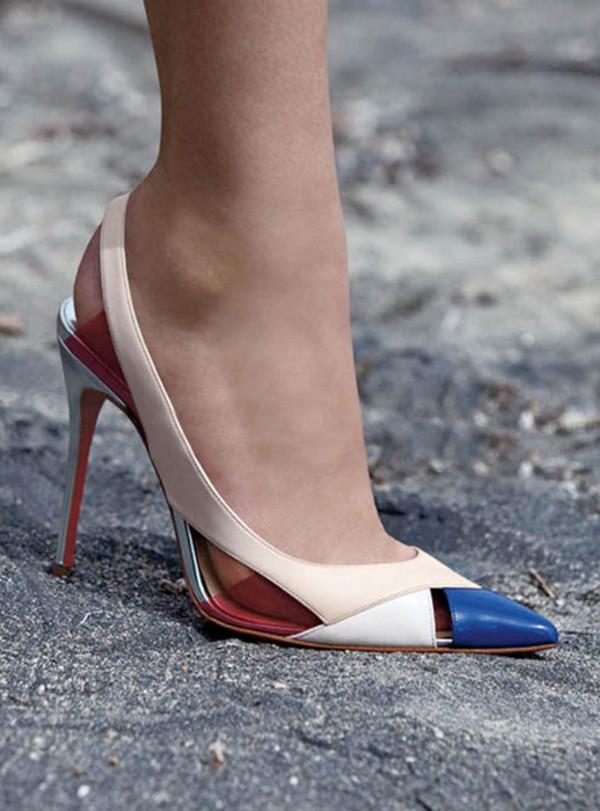 shoes fashion colorblock heels sandals brand