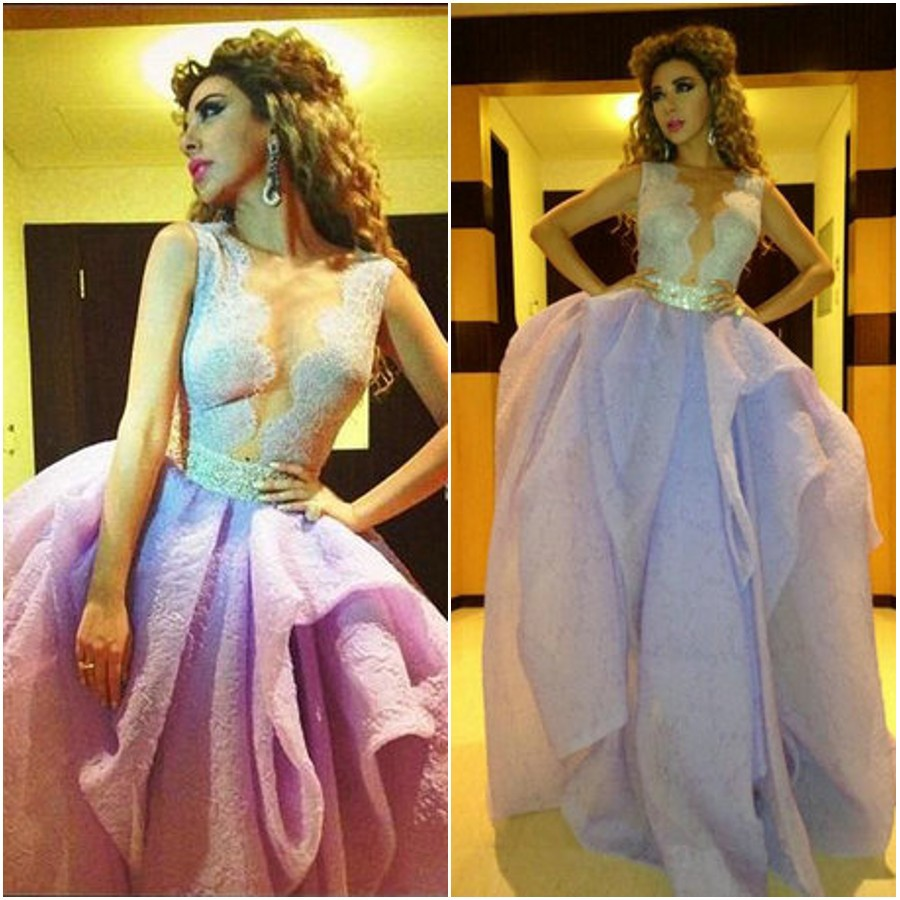 Aliexpress.com : Buy Ruffled Organza Custom Made Lilac Myriam Fares Lace Beaded Waist Celebrity Dresses Sexy Nude Prom Gowns from Reliable dress read suppliers on 27 Dress