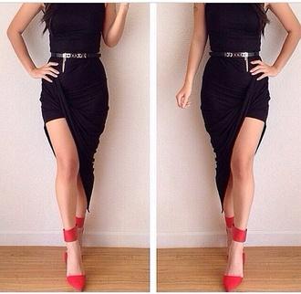dress black little black dress cute orange heels heels shoes