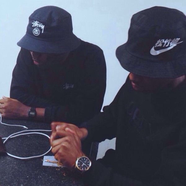 bucket hat nike watch charger black swag iphone thug life thug life african american menswear mens hat