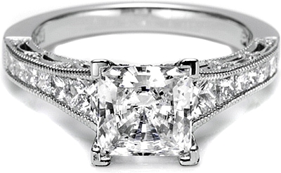Tacori Channel-Set & Pave Princess Cut Diamond Engagement Ring HT2510PR