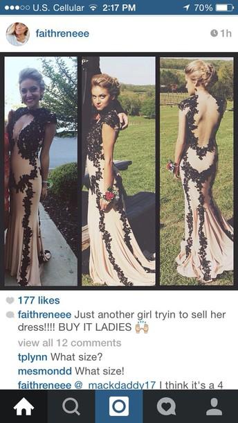 dress nude and black lace dress
