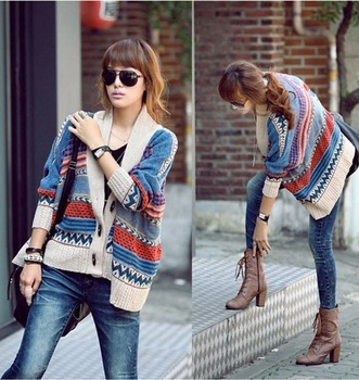 Bohemian Casual Tribal Oversized Knit Bat Sleeve Sweater Coat Knitwear Cardigan-in Cardigans from Apparel & Accessories on Aliexpress.com