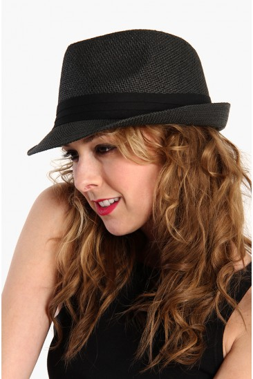 LoveMelrose.com From Harry & Molly   Hipster Fedora Hat - Black