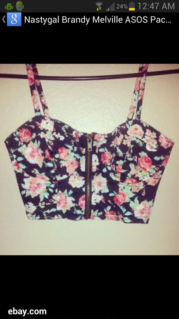 t-shirt floral bustier zip up top