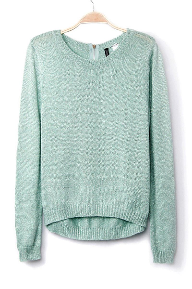 Silver Line Zipper Loose Knit Pullover Sweater,Cheap in Wendybox.com