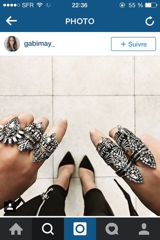 jewels armor ring silver ring statement ring