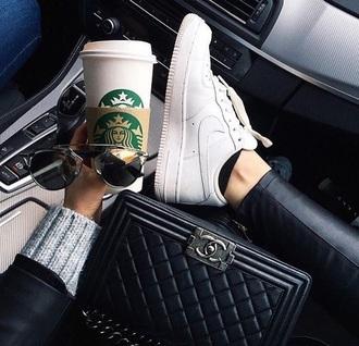 shoes nike starbucks coffee chanel bag sunglasses white white sneakers nike air force 1 chanel boy bag boy bag chanel boy