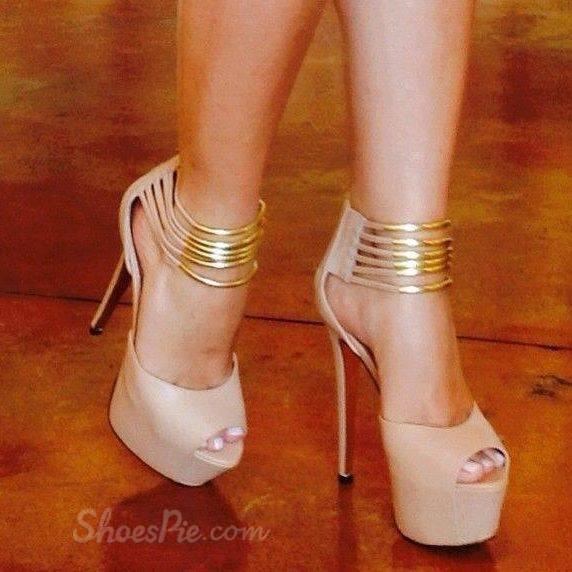 Beautiful Ankle Strap Peep-Toe Heels