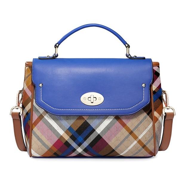 bag vintage plaid women blue handbag