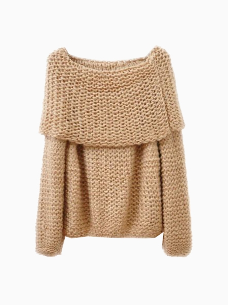 Cute Boat Neck Knitted Jumper | Choies