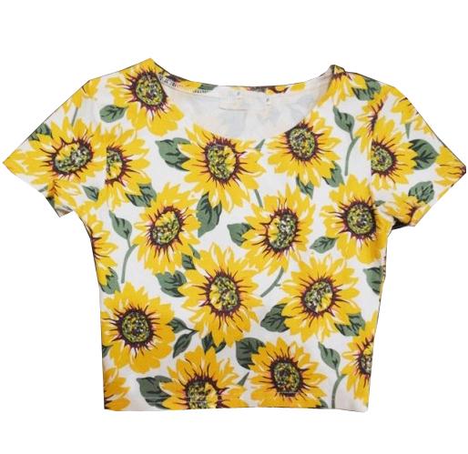 White Short Sleeve Sunflower Pattern T-Shirt - Sheinside.com