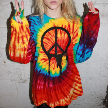 Melting Peace Tie Dye Oversized Sweater Dress / Grunge Peace Sign / Psychedelic One of a Kind / Rave Raver Clothing / Long Sleeve / Trippy on Wanelo