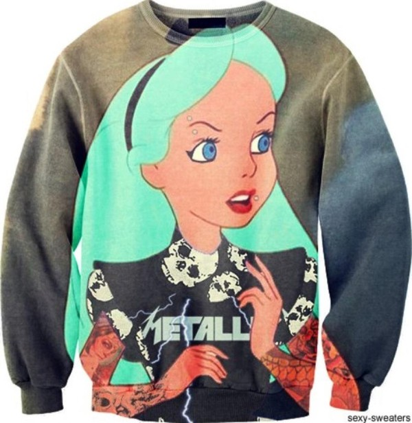 sweater jumper pullover tattoo disney hipster rock grey grey sweater alice in wonderland sexy metallica skull