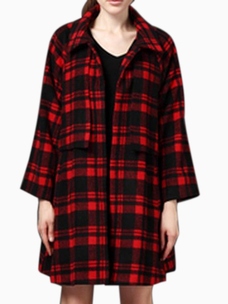 Oversize Longline Coat in Black and White Check | Choies