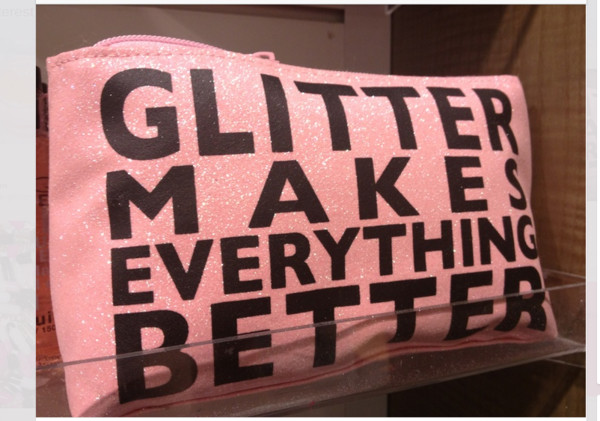 make-up makeup bag pink glitter dazzle quote on it statement party make up
