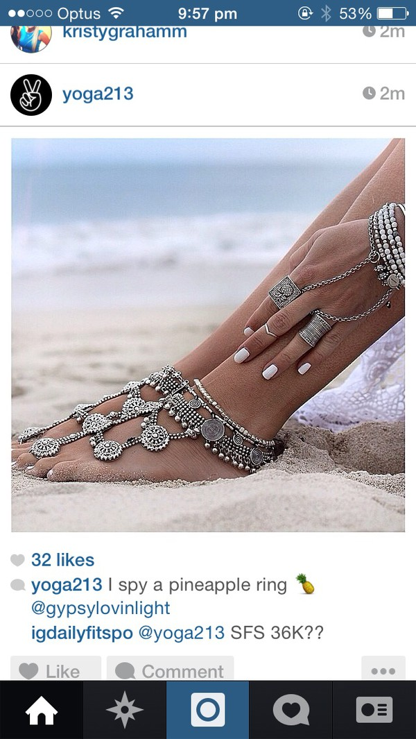 jewels feet foot silver hippie jewelry sandlot