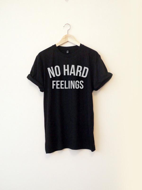 t-shirt mornings black black and white print no hard feelings feelings hard tumblr tumblr shirt roll cool