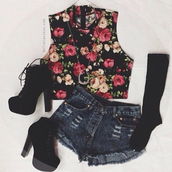 tank top summer outfits underwear shorts shoes