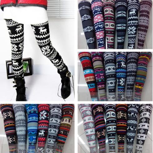 New Hot Women's Nordic Deer Snowflake Knitted Leggings Pants 21 style 03 on Aliexpress.com