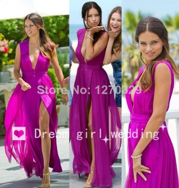 dress fuchsia dress adriana lima chiffon prom