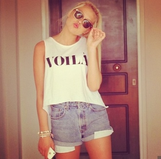 t-shirt voila quote on it french sunglasses hype shorts rayban