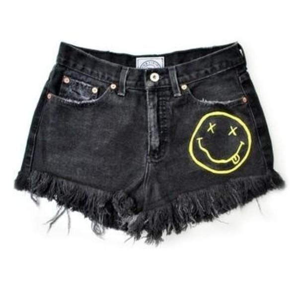 cut off shorts denim shorts tumblr shorts cute shorts ripped shorts black yellow gold smiley smiley nirvana band merch band summer