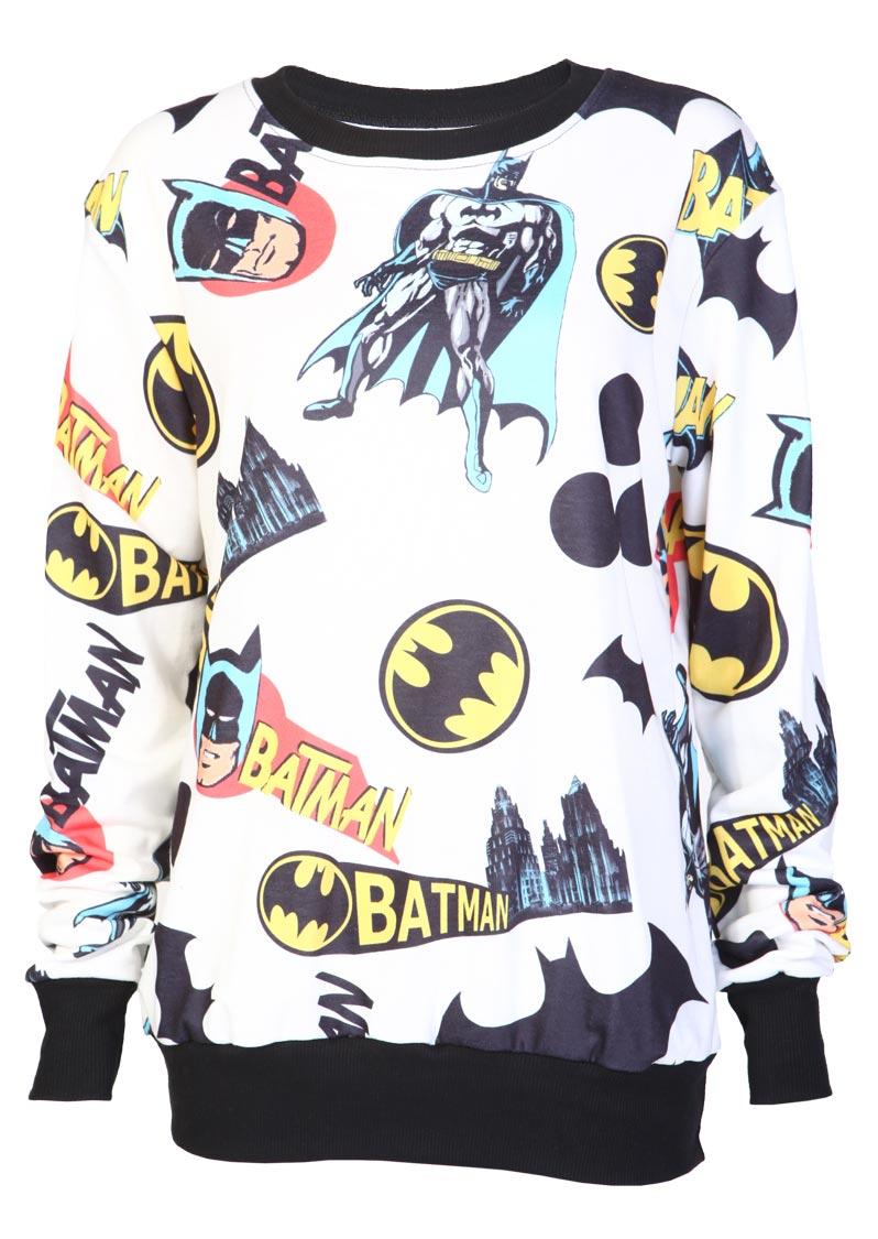Cream Batman Sweatshirt - Womens Clothing Sale, Womens Fashion, Cheap Clothes Online | Miss Rebel