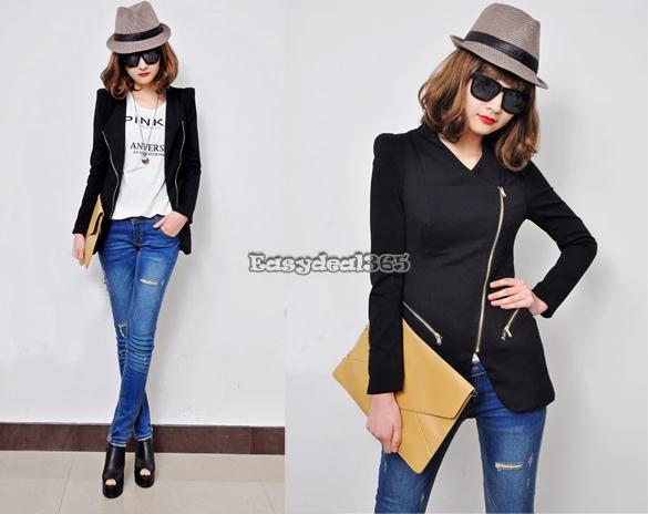 New Fashion Frauen Zipper Revers Schlank Shrug Jacke Mantel 6Farben 4Größen ED | eBay